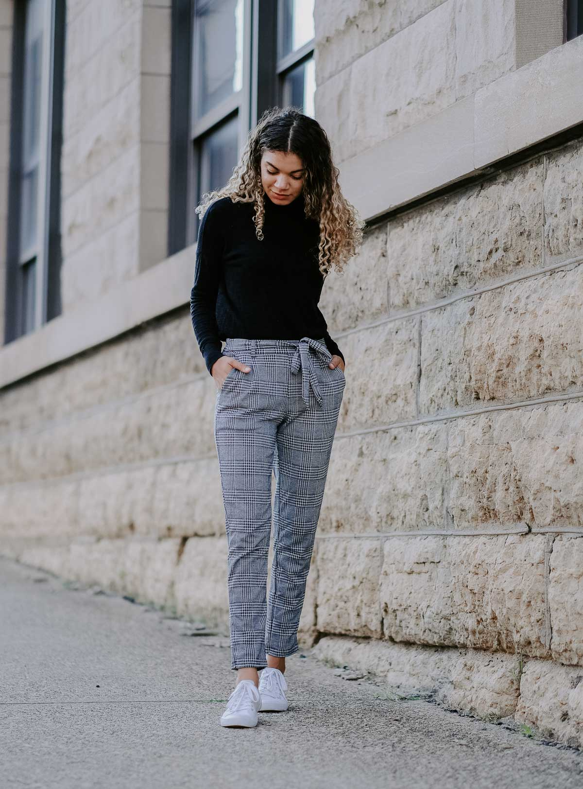 plaid pants fall back to school outfit