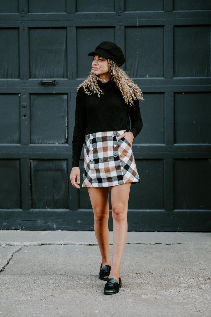 plaid skirt fall back to school outfit