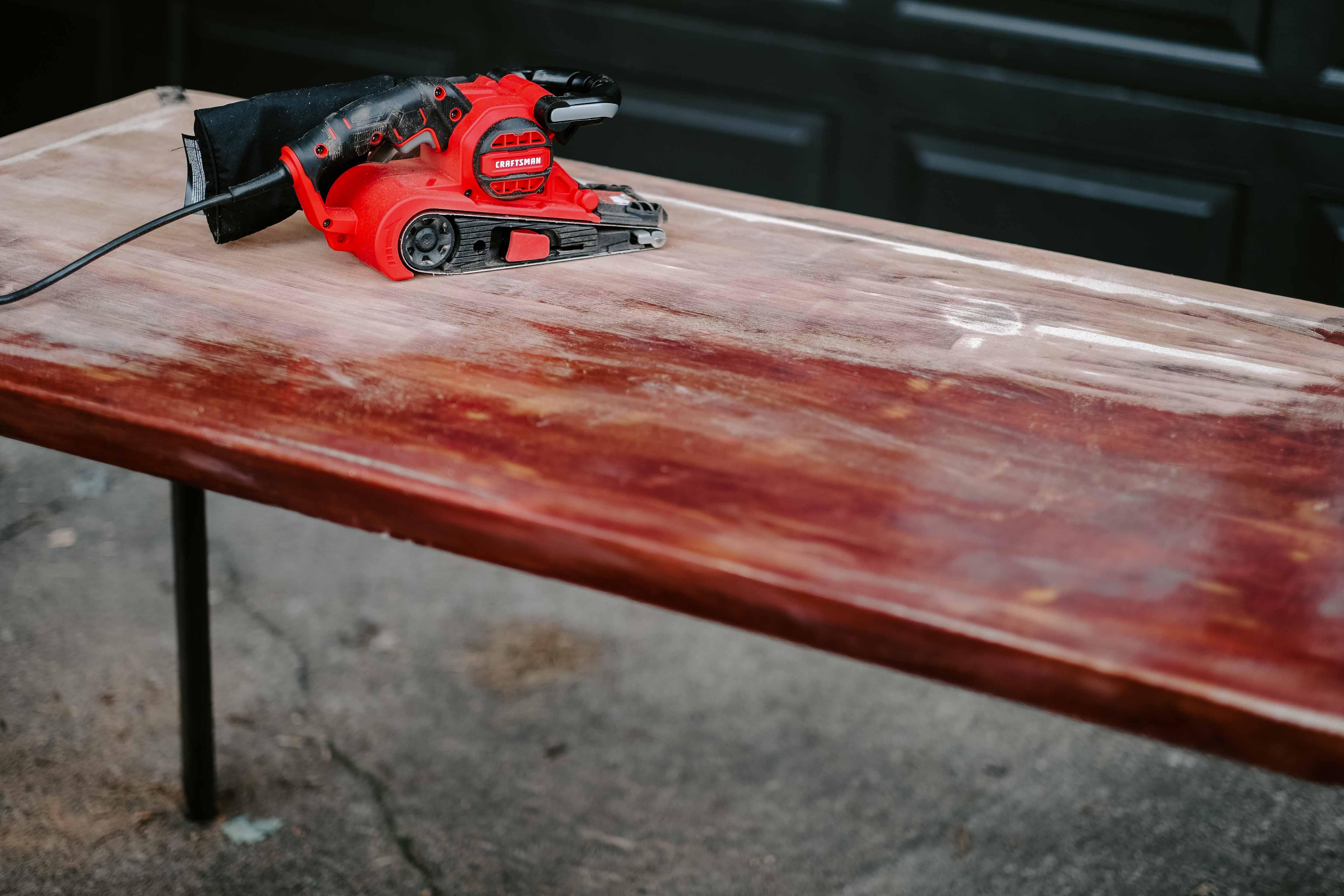 belt sander table makeover