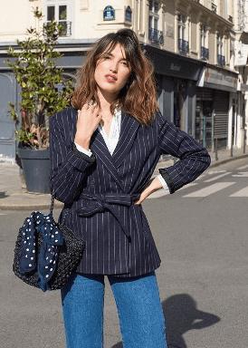 belted blazer jeanne damas