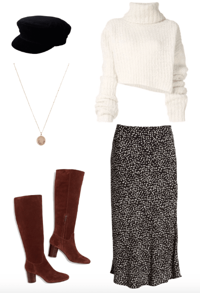 midi skirt french fall look