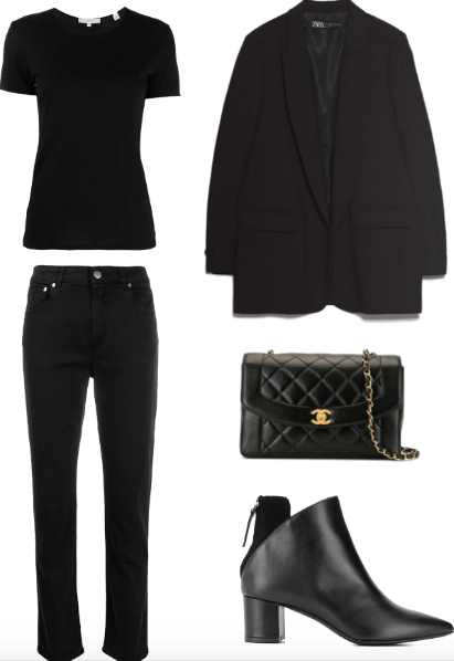all black french outfit