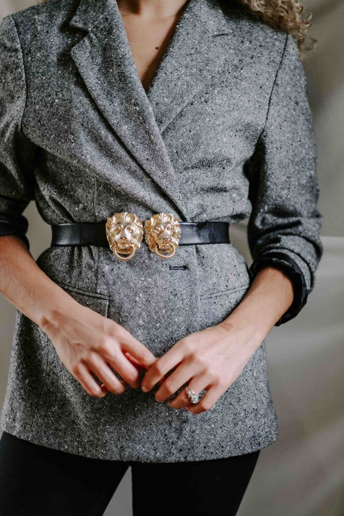 belted blazer outfit