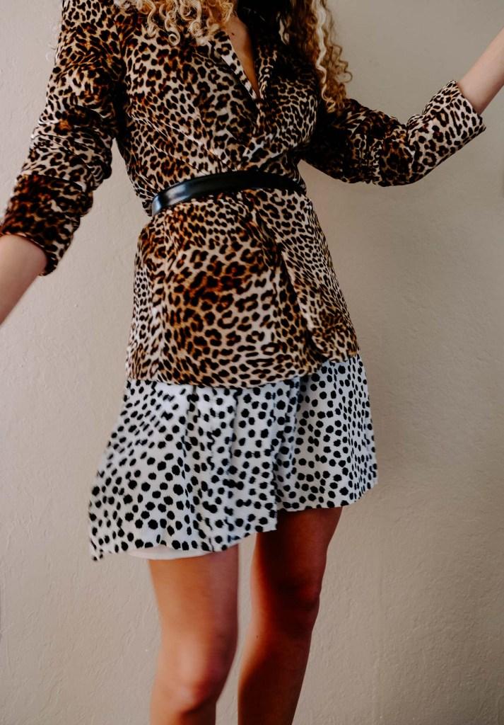 belted leopard print blazer