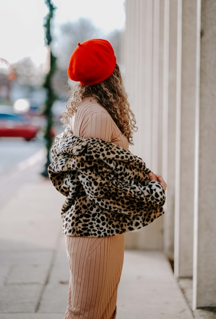 camel dress and cheetah coat outfit