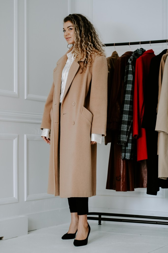 classic camel coat outfit