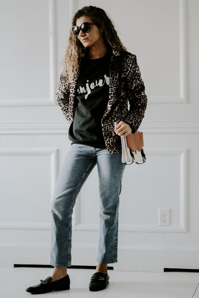 graphic sweatshirt with blazer