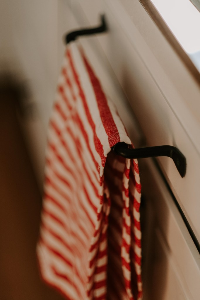 red striped ticking towel