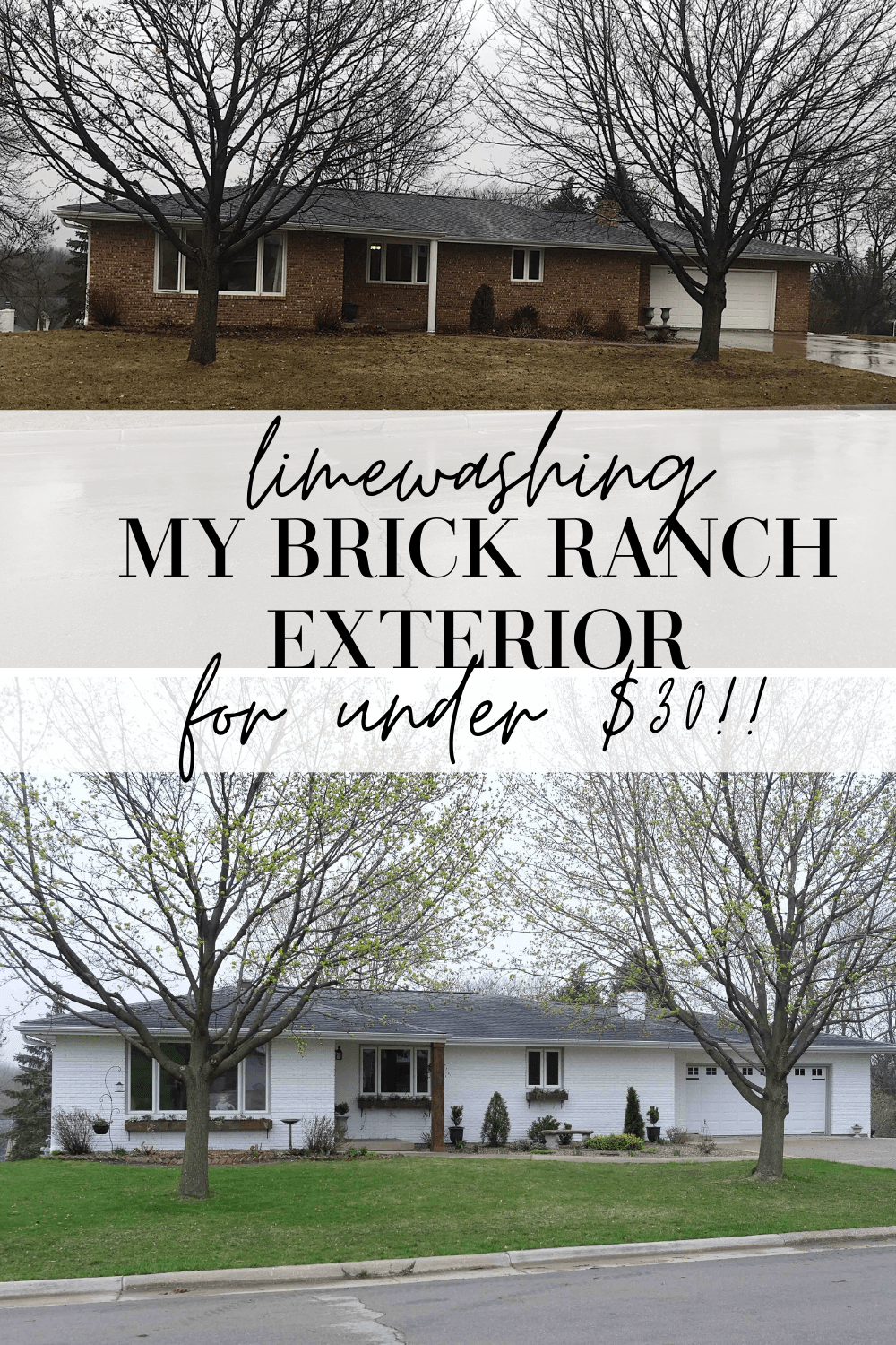 limewashing brick ranch exterior
