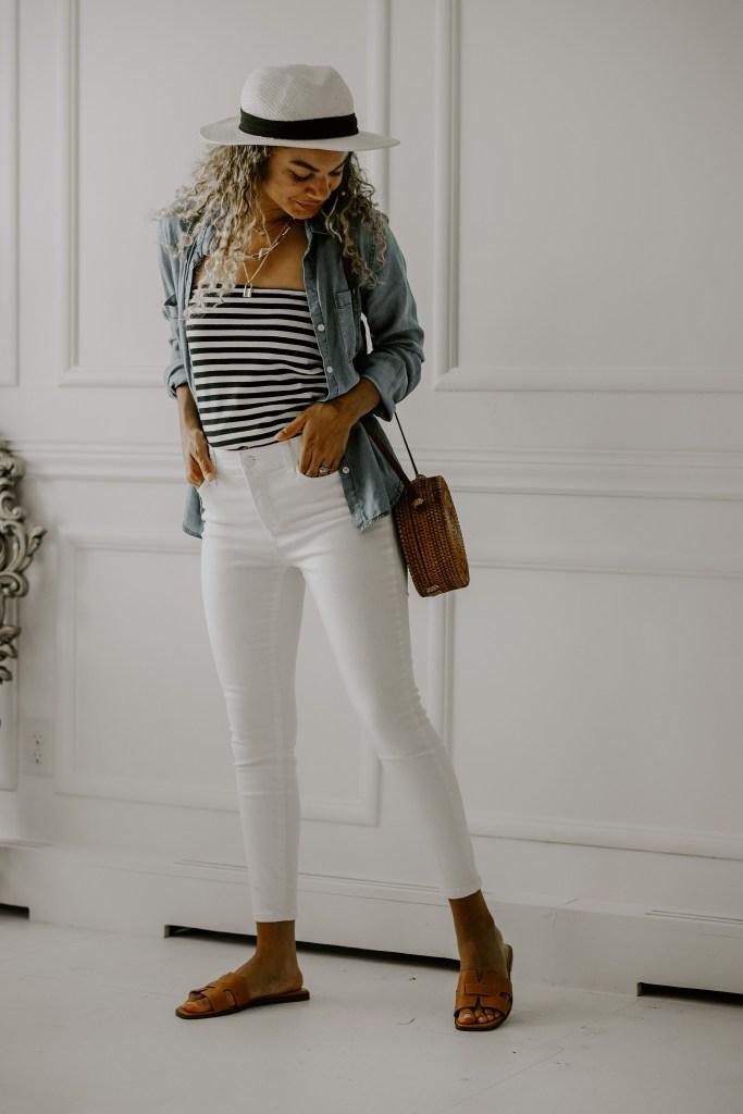 striped skirt worn as a shirt
