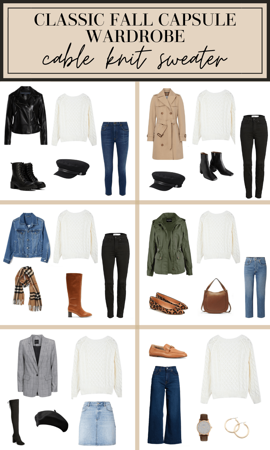 how to wear a cable knit sweater fall capsule wardrobe