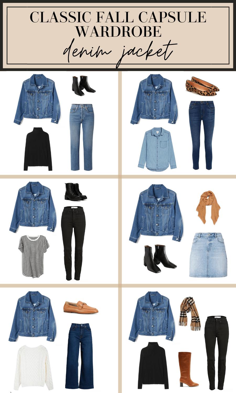 how to wear a denim jacket fall capsule wardrobe