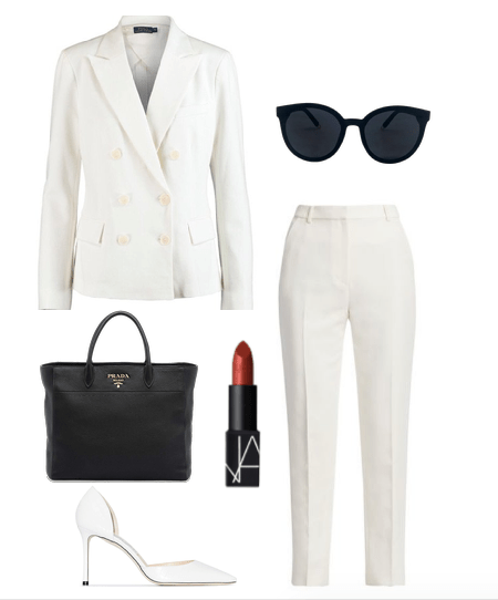 white pants suit outfit