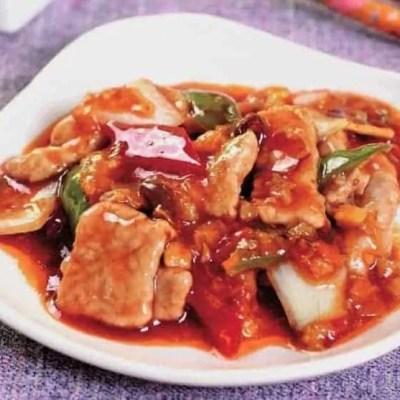 टोमेटो सॉस रेसिपी के साथ चीनी कटा पोर्क