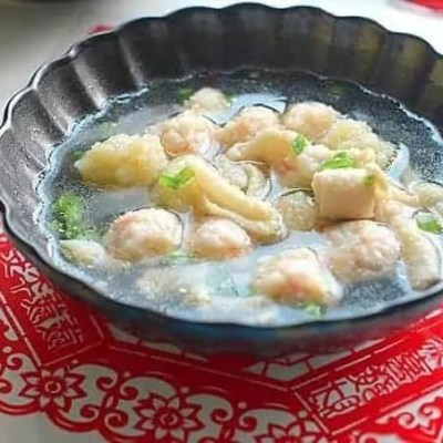 Chicken Skins And Shrimp Meatball Soup