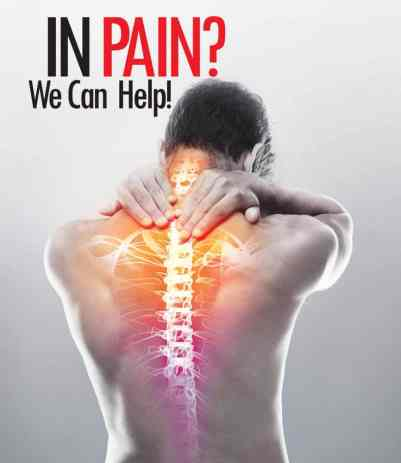 man with back pain shown