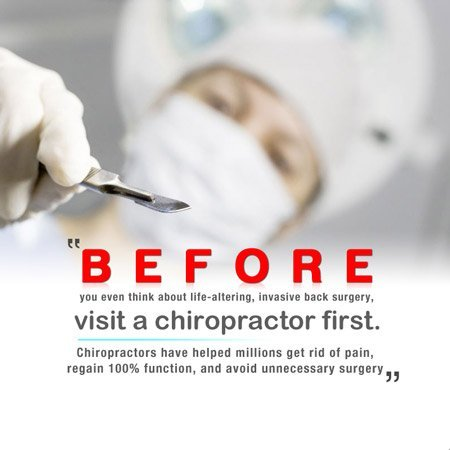 surgeon ready to operate with caption visit a chiropractor