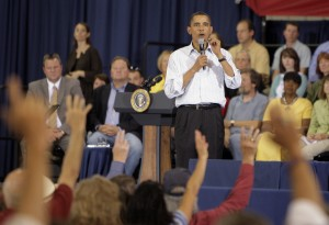 President Barack Obama, pictured at a town hall meeting in Montana last month, addressed students Tuesday.