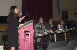State Rep. Rosa Rebimbas (left) and a panel that included legal and law enforcement experts discussed the dangers of sexting during a forum at Naugatuck High School last Wednesday.