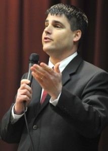 Mayor Bob Mezzo, pictured above at a February debate, has proposed a plan to bridge the BOE's roughly $2 million budget estimate, which is contingent upon the resignation of Superintendant John-Tindall Gibson and the replacement of Board of Education chair Kathleen L. Donovan.