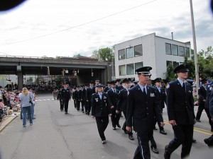 The Jr. ROTC cadets participate in many community happenings, including the Veteran's Day parade, above (2009).