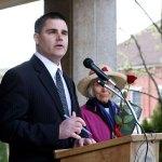 Naugatuck Mayor Bob Mezzo honors Mary Lou Sharron as Earth Mayor for the Day.