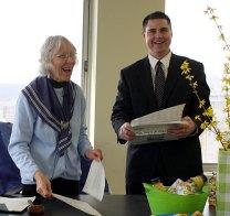 Earth Mayor of the Day Mary Lou Sharron,left, shares a laugh with Mayor Bob Mezzo
