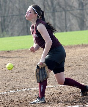Naugatuck's Alexa Marucci fires a pitch towards home on Monday versus Woodland.