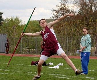 Naugatuck's William Zavodjancik prepares to launch his javelin during Naugatuck's home track meet May 5. - PHOTO BY LARAINE WESCHLER