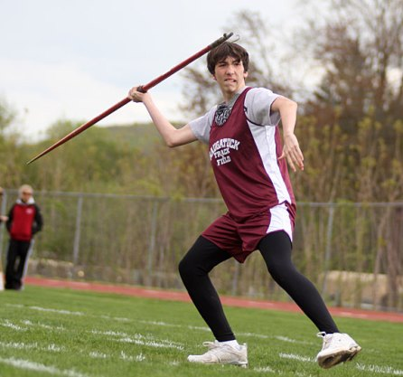 Naugatuck's Pike Grala prepares to launch his javelin during Naugatuck's home track meet May 5. - PHOTO BY LARAINE WESCHLER