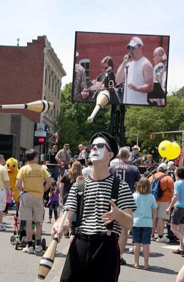 Matthew Duncan, a member of Cirque Du Jour, performs at Naugatuck Duck Day June 5.
