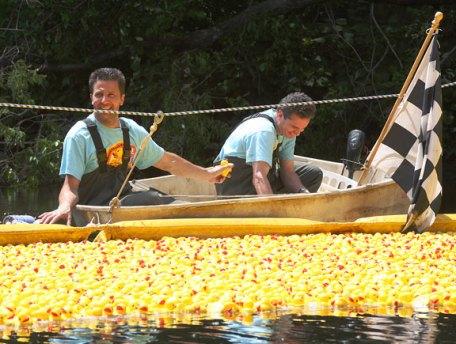 Bill Genovese, left, and Fraser Wart recieve the winning ducks at Naugatuck Duck Day June 5.