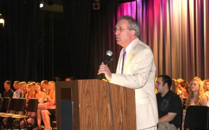 Woodland Regional High School Principal Arnold Frank speaks during the the school's Academic Awards Night June 15. Frank declined his nomination into the Woodland Hall of Fame.