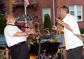 Hot Cat Jazz performs on the Naugatuck Town Green Tuesday night as part of the borough's summer music festival. Concerts benefit the Naugatuck Food Bank and Ceasar Ruggeri Scholarship Fund. Attendees are asked to bring food donations. Concerts are held every Tuesday until August 23 from 7 p.m. to 9 p.m. on the Town Green. For more information, visit www.naugatuckarts.org.