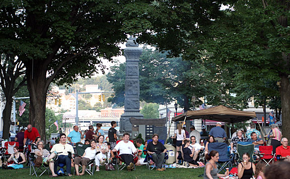 A crowd gathered to listen to the Celtic fusion notes of Mac Talla Mo'r July 12 on the Naugatuck Town Green as part of the Naugatuck Arts Commission summer concert series.