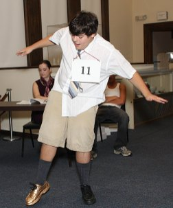 Zach Carter rehearses 'Spelling Bee' Monday night for his performances at the Naugatuck Historical Society this weekend.