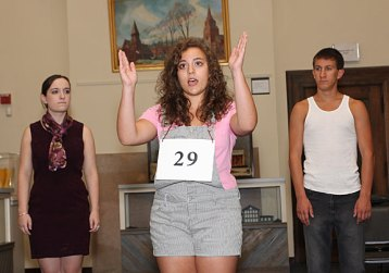 From left, Colleen Gunning, Laura Shannon and Jeff O'Brien rehearse 'Spelling Bee' Monday night for their performances at the Naugatuck Historical Society this weekend.