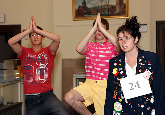 From left, Jeff O'Brien, Curtis Dunn and Laura Shannon rehearse 'Spelling Bee' Monday night for their performances at the Naugatuck Historical Society this weekend.