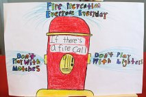 Kimani Grey of Cross Street Intermediate School won second place for fifth grade in the borough's fire prevention poster contest.