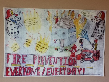 Raymond Lucarelli from Hillside Intermediate School won first place for fifth grade in the borough's fire prevention poster contest.