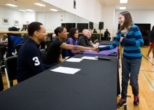 Prospect teenager Alyssa Casson, 13, meets with guest mentors, from left, Broadway actor Derrick Baskin, Rockette Danelle Morgan, New York Knicks City dancer LaToya Brooks Tony Vincent of NBC's The Voice and Broadway's American Idiot, and Rockette Corinne Tighe in late March during rehearsal for the Garden of Dreams Talent Show. -AVI GERVER/MSG PHOTOS