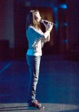 Prospect teenager Alyssa Casson, 13, rehearses for the Garden of Dreams Talent Show. -AVI GERVER/MSG PHOTOS