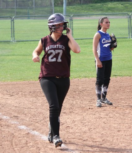 The Greyhounds beat Crosby 13-1 April 16 in Naugatuck. Gillian Fortier led the way for Naugy with two home runs, two doubles and seven RBIs. Naugatuck's Alexa Marucci allowed just three hits and struck out eight. –ELIO GUGLIOTTI