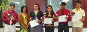 Naugatuck High School French Honor Society inductees Felicia Gullota, Ajay Guntupalli, Klaus Jaramillo, Siddhant Shah, Alexis Simmons, and Taylor Trammell.