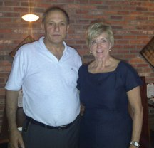 Republican U.S. Senate candidate Linda McMahon, right, recently stopped in Dom's Brickhouse in Prospect for dinner. Pictured with McMahon is Dom Mirabelle.