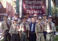 Webelos from Pack 109 in Naugatuck visited the Hartford Children's Theatre May 12 for a performance of 'Tales of a Fourth Grade Nothing.' Pictured Ethan Puc, Sean Doxsey, Tommy Ayash, Matthew Steckert, Charlie Almeida, Ryan Rocheleau, Jared Gionfriddo, Josh Caton, Jordan Coleman, and Devyn Caton. –CONTRIBUTED
