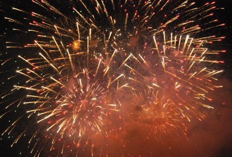 Fireworks explode over the Pent Road Recreation Complex in Beacon Falls last year. This year's show will be held Saturday. -JEREMY RODORIGO