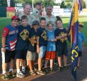 Cub Scouts from Pack 27 in Prospect attended the Rock Cats Game on Aug. 4 in New Britain. Many packs in the state were honored at the game, and the scouts camp out the night on the baseball field. Pictured, front row from left, Robby Cavallo , Albert Marchant, Nicholas Santovasi, Aidan Woodsworth, William Moroz, Nathan Pepin, and Chase Young. Back row, Chris Pepin and Assistant Cub Master Anthony Santovasi. -CONTRIBUTED
