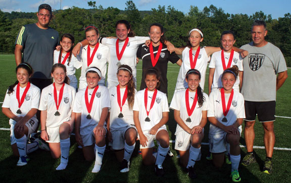 The PSC Dynamo Girls Premier Soccer Club recently wrapped up a successful 2011-12 season in state and Region 1 competitions. Teams 98 and 99 won first place at the Nordic Cup Tournament in Burlington, Vt., took home second place at the Ludlow Columbus Day Tournament in Ludlow, Mass., and the Farmington Bank Labor Day Shoot Out Tournament in Farmington as well as finishing third at the University of Rhode Island College Showcase Tournament in Kingston, R.I. and the Lincoln Page Tournament Hofstra University in Long Island, N.Y. PSC Dynamo is a premier soccer club made up of young athletes ages 12 to 15. The players are from surrounding communities, including Prospect, Beacon Falls, and Naugatuck. Pictured, top row assistant coach John Pannone, Julia Sheetz, Justine Troiano, Lauren Charrette, Jenna Pannone, Kyla Megalhaes, Dakota Cipriano, and coach Joe Sousa. Bottom row, Olivia Carasone, Erin Mulhall, Haley Andrews, Adrianne Yacavone, Maribella Sousa, Samantha Plasky, Kaci Michaud. Not pictured, Ariana Avarado. –CONTRIBUTED