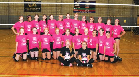Woodland volleyball's freshman, junior varsity, and varsity teams all wore pink last Thursday versus Wolcott in Beacon Falls to raise awareness for breast cancer. The teams sold pink ribbons during the games for breast cancer research. -LUKE MARSHALL